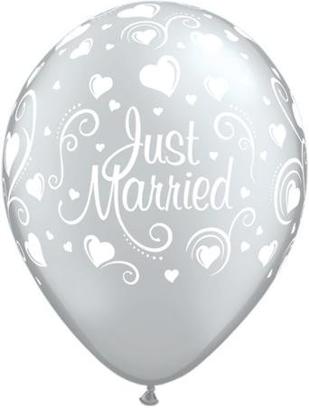 Just Married Hearts Metallic Silver 11in