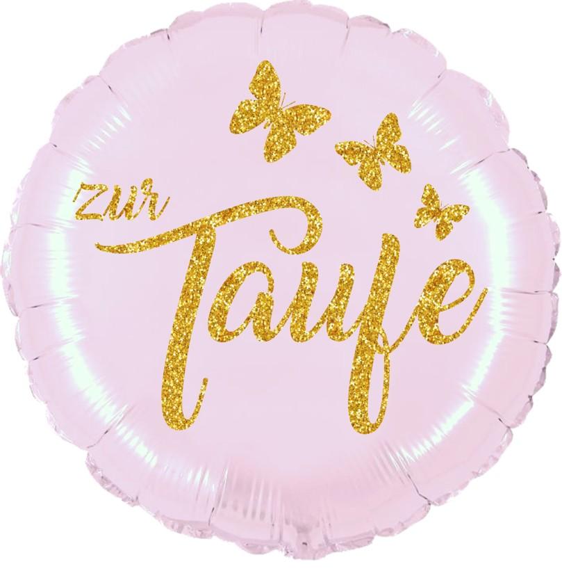 Folienballon Taufe mattrosa mit Glimmerdruck gold