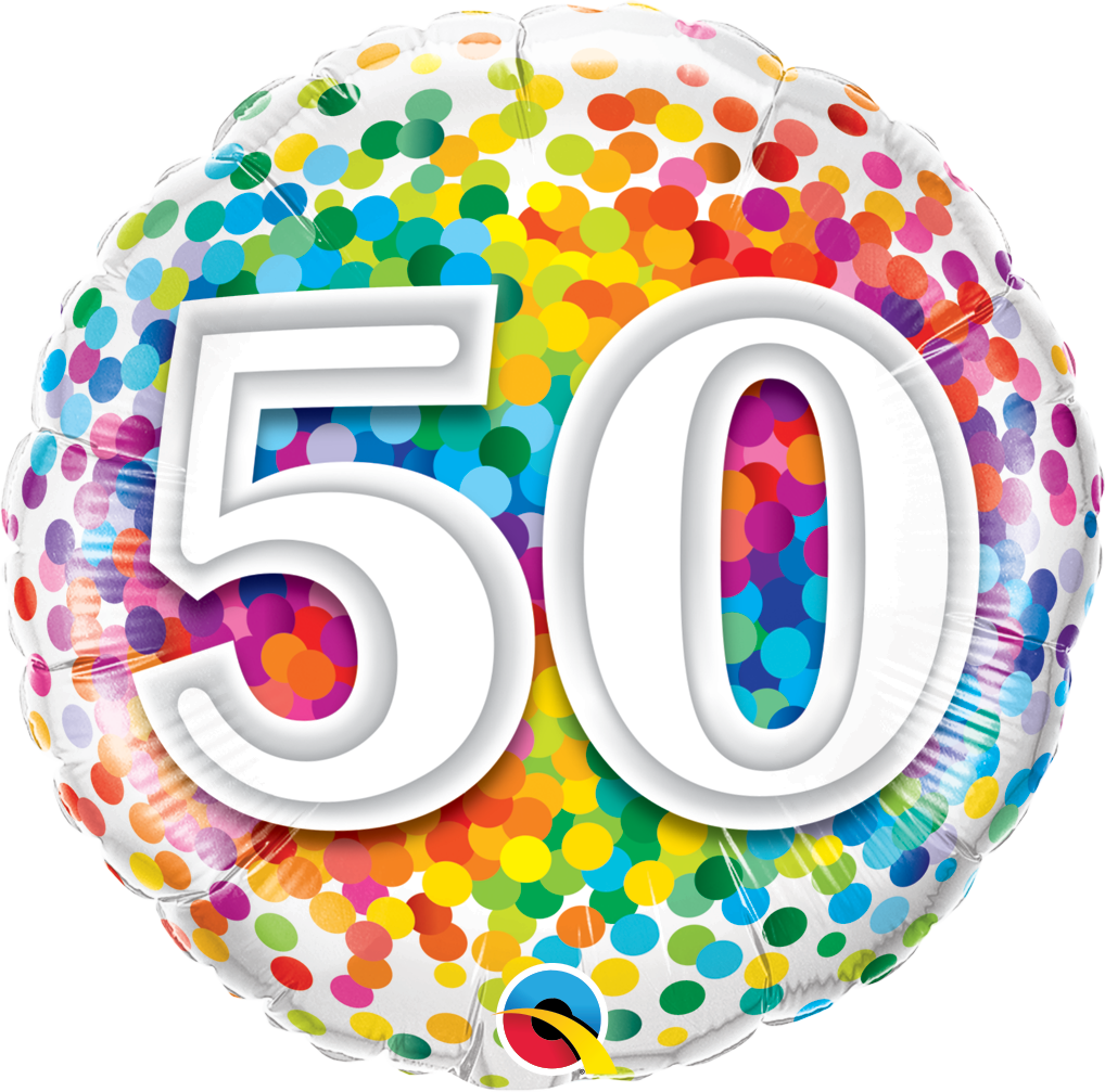 Folienballon Rainbow Confetti 50