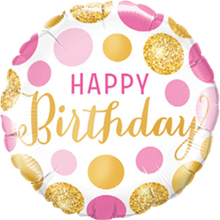 Folienballon Birthday Pink und Gold Dots