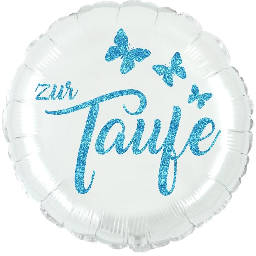 Folienballon Taufe perlmuttweiß mit Glimmerdruck blau