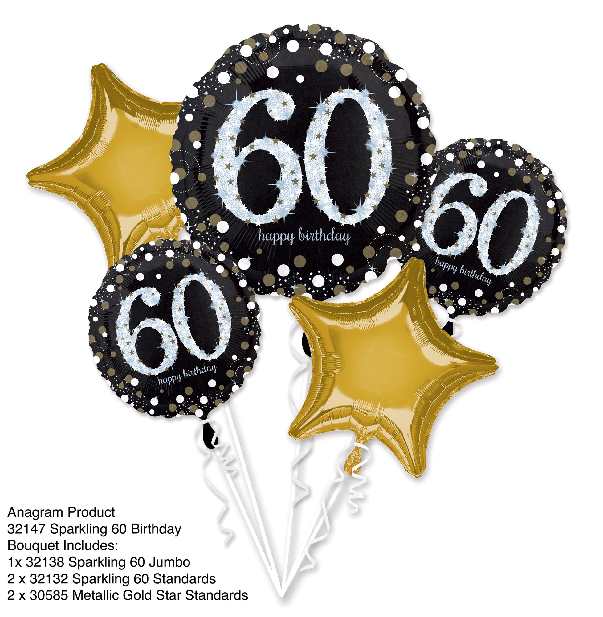 Folien-Bouquet Sparkling Birthday 60