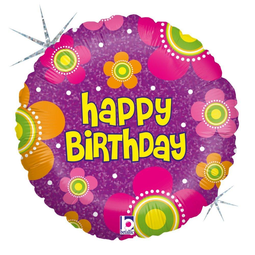Folienballon Flowers Happy Birthday holografisch