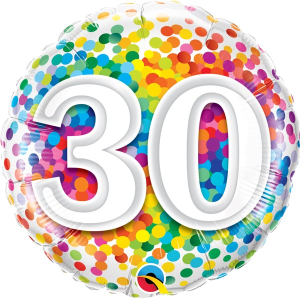Folienballon Rainbow Confetti 30