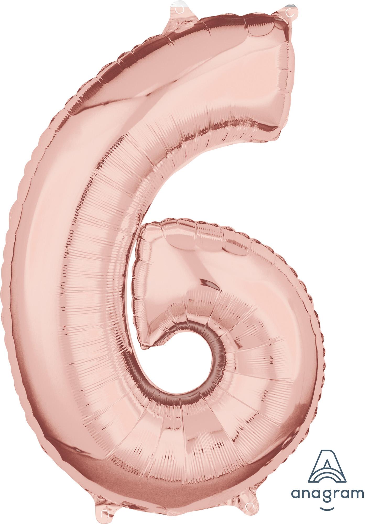 Zahlenballon Rose Gold  L - 6