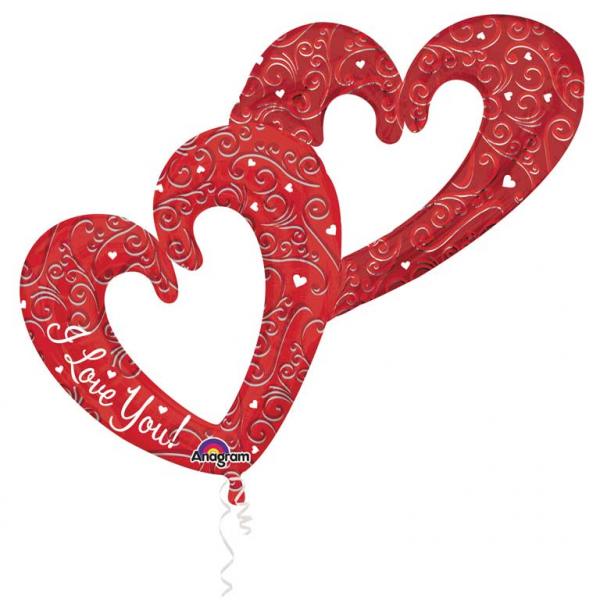 Multi Balloon Verschmolzene Herzen rot