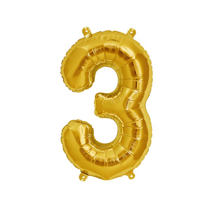 Zahlenballon Gold S - 3
