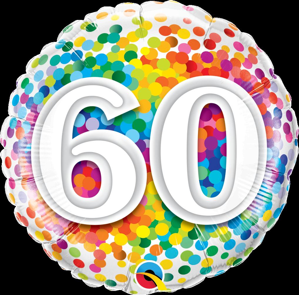 Folienballon Rainbow Confetti 60