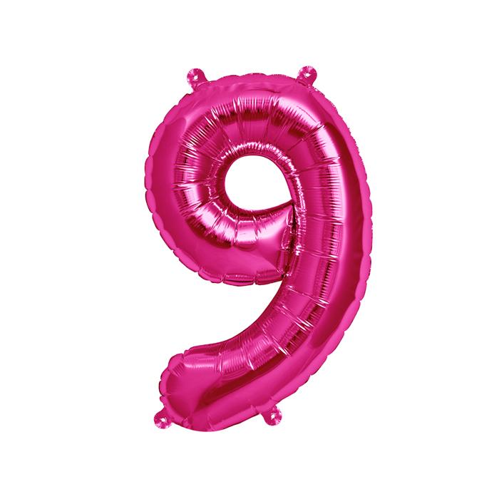 Zahlenballon Magenta S - 9