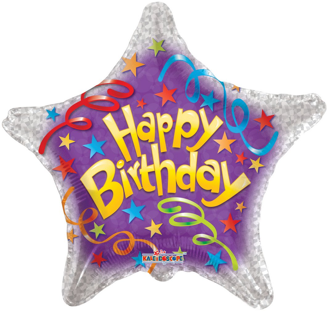 Folienballon Stern Happy Birthday Streamers - 61134