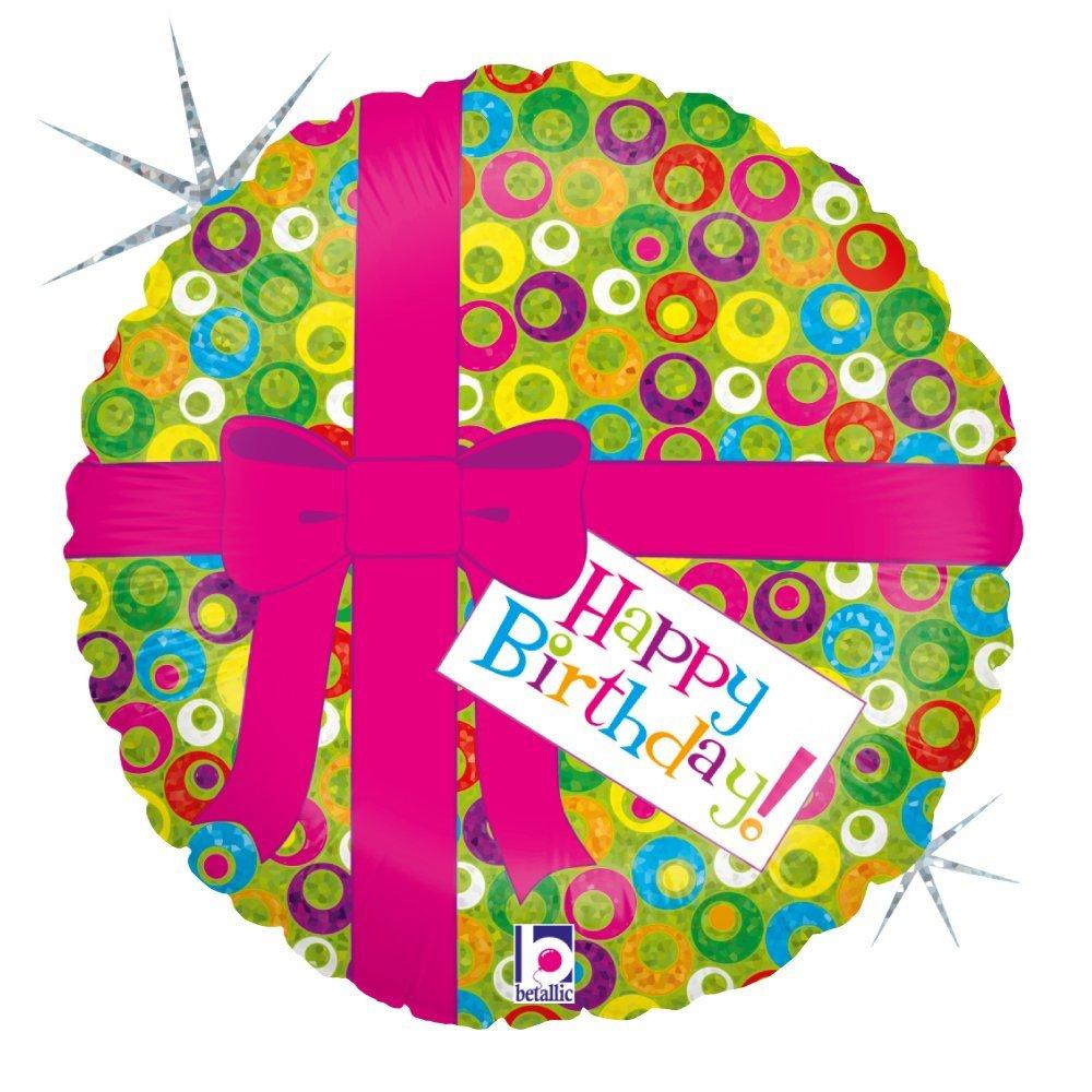Folienballon Pinke Schleife Happy Birthday holografisch