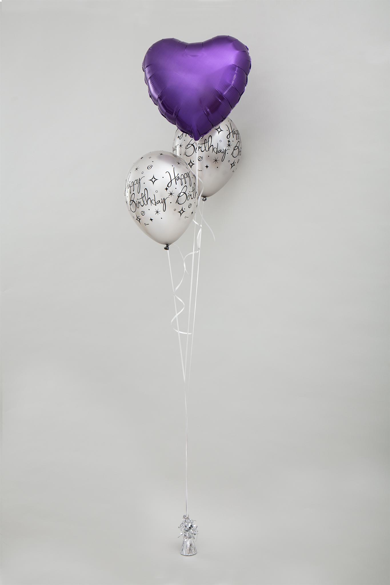 Bouquet aus 2x Latexballon und 1x einfarbiger Folienballon