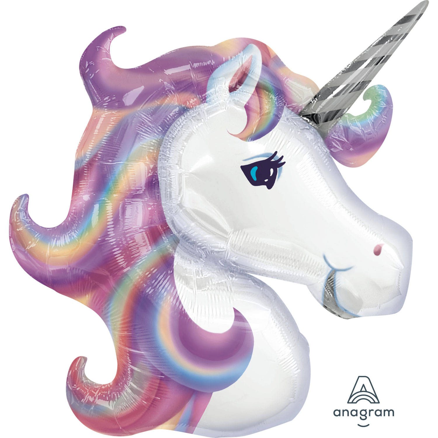 Folienballon Supershape Regenbogen Einhorn pastell