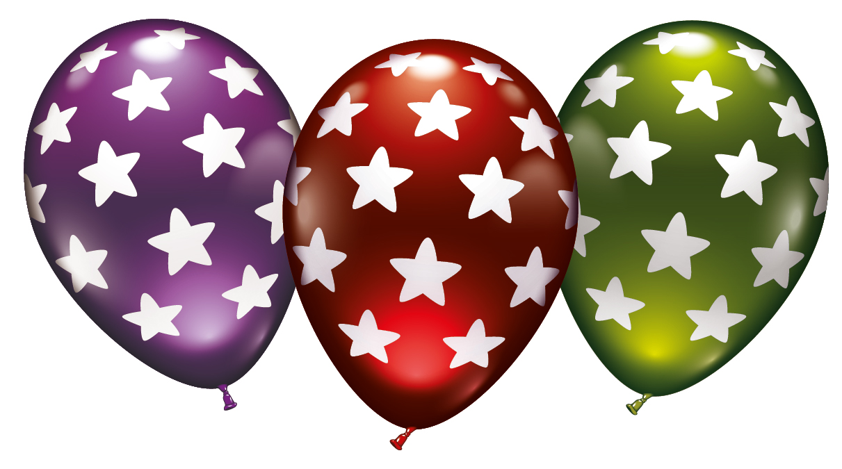 Metallicballons mit Sternen 6er-Set