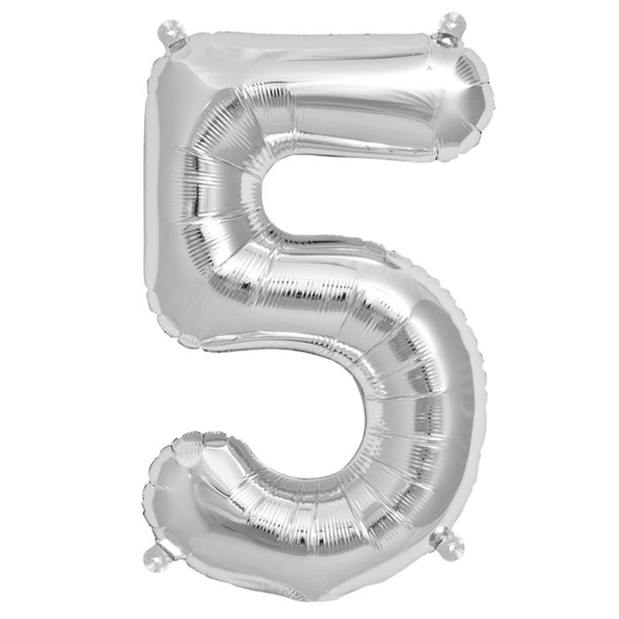 Zahlenballon Silber XL - 5