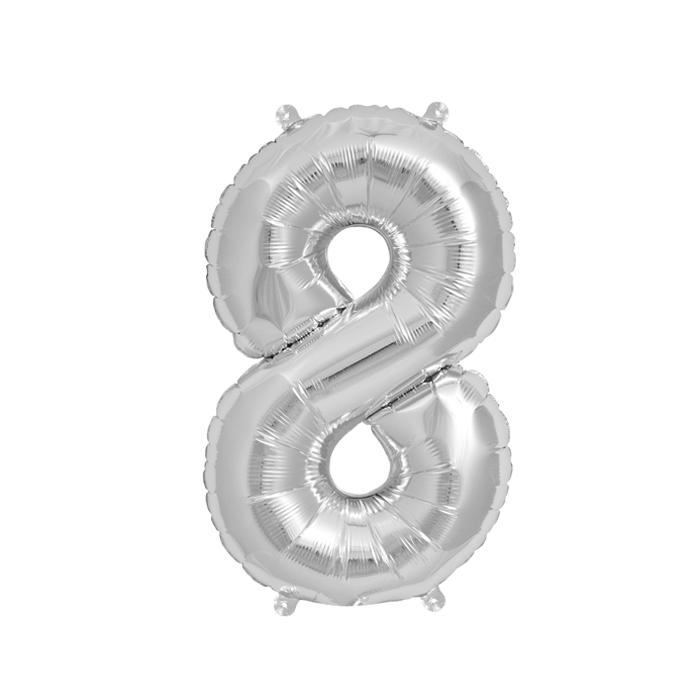 Zahlenballon Silber S - 8