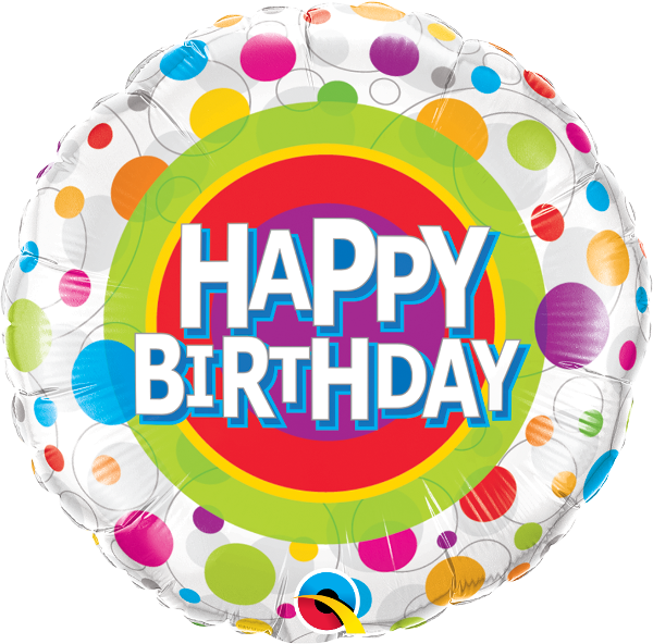 Folienballon Happy Birthday Color Dots 18in/45cm