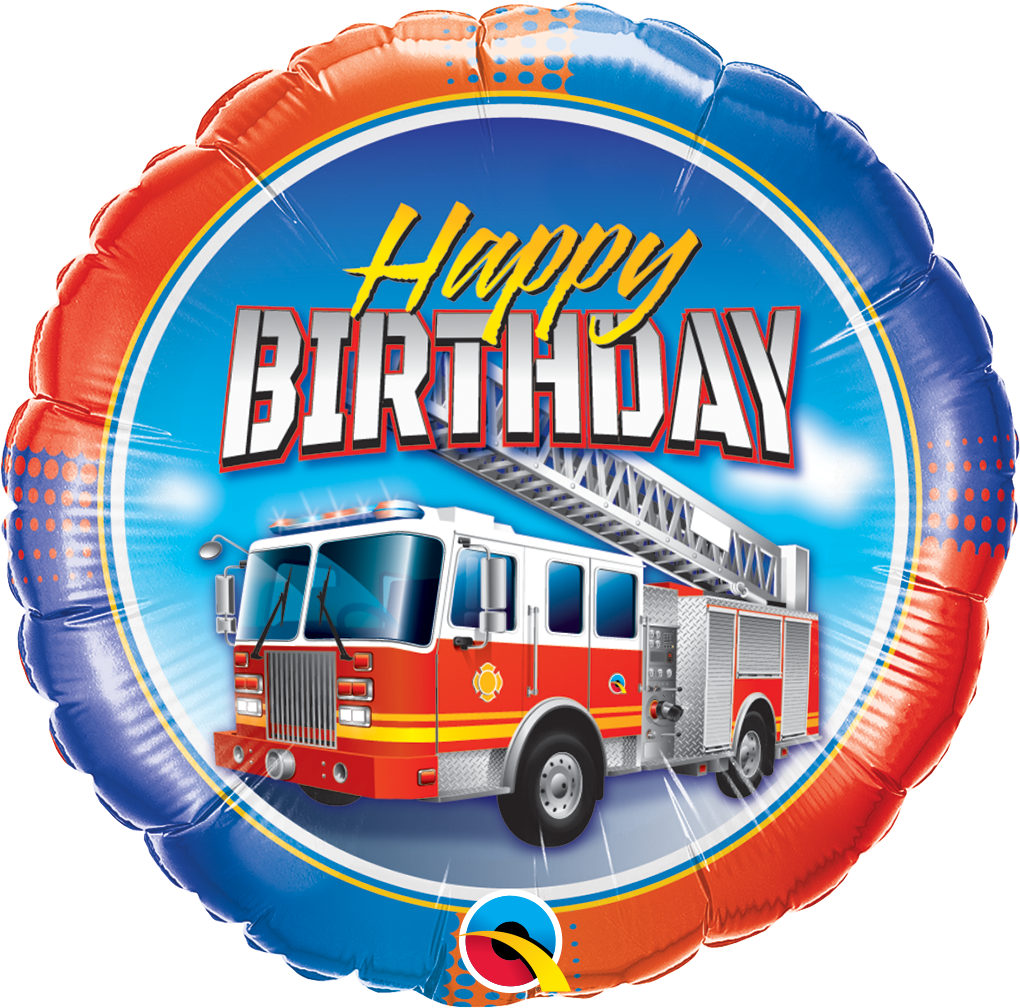 Folienballon Happy Birthday Feuerwehr