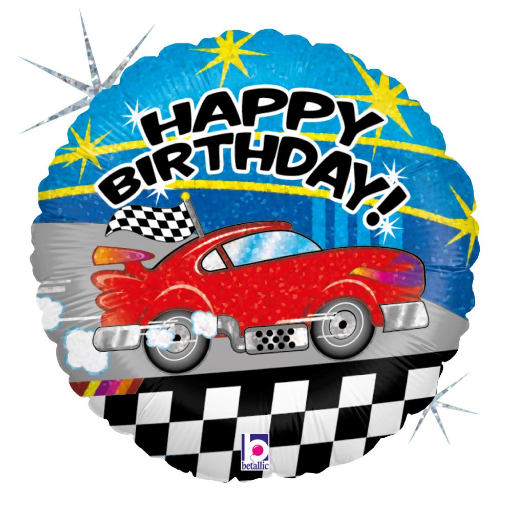 Folienballon Happy Birthday Car