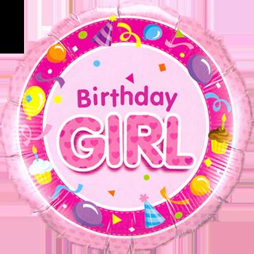 Folienballon Standard Birthday Girl pink
