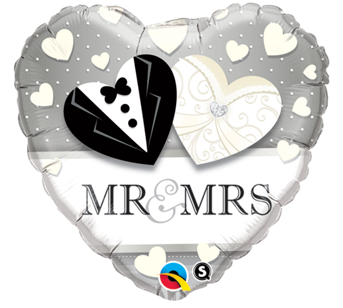 Folienballon Herz Mr an Mrs