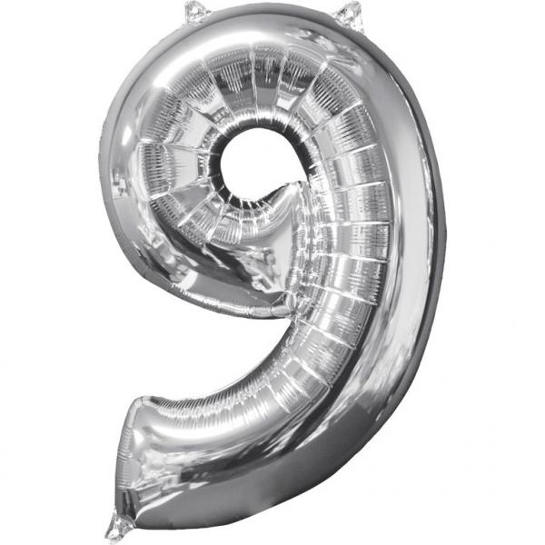 Zahlenballon Silber L - 9