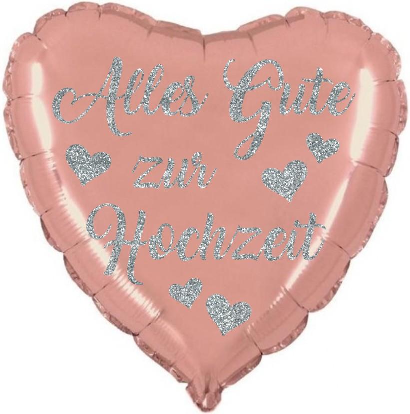 Folienballon Herz rosegold Alles Gute zur Hochzeit mit Glimmerdruck silber